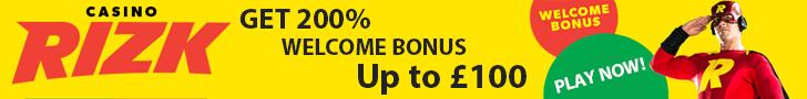 Risk banner bonus offer £100 100% welcome promo