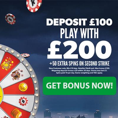 Risk banner bonus offer £100 100%