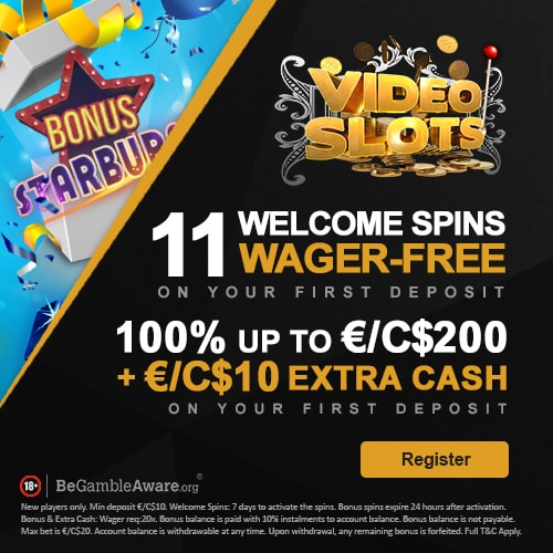 videoslots bonus free spins today